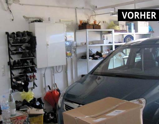 Die Garage vor dem Umbau zum Wellnessbereich