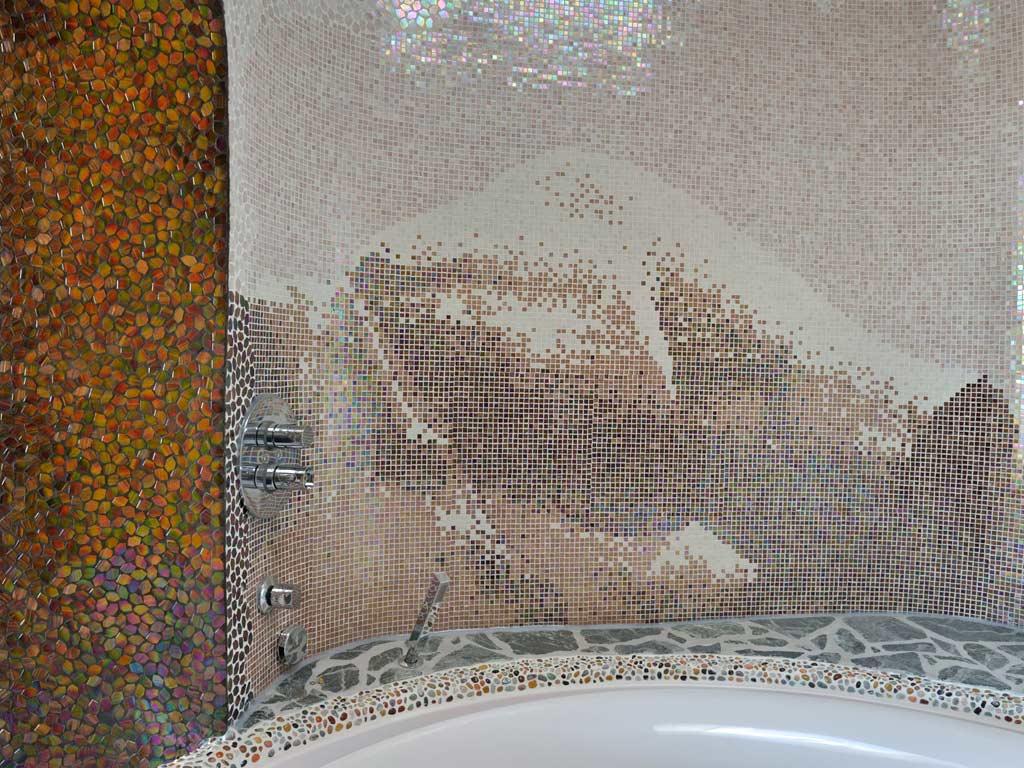 Mosaikkunst: Himalayagebirge (1 Stein = 1cm x 1cm; 33.000 Steine wurden/ Bild verlegt)