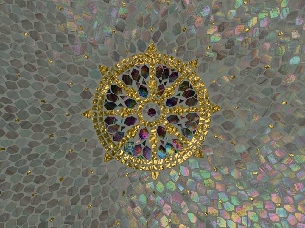 Mosaikkunst: Tibetisches Rad effektvoll in Mosaik verlegt